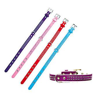 Freedog Collar polipiel Brillantes para su mascota de color  Lila