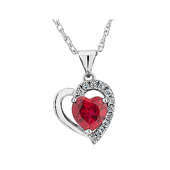 Created Ruby Heart Pendant Necklace with Created White Sapphire 1.90 Carat (ctw) in Sterling Silver with Chain