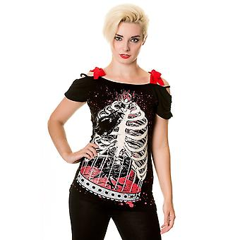 Banned - BIRD IN SKELETON CAGE - Womens T-Shirt Top Shoulder Strap