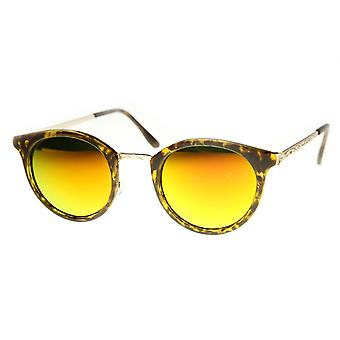Retro P-3 Metal Temple Color Flash Mirror Lens Round Sunglasses