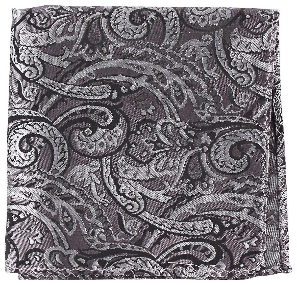 Knightsbridge Neckwear Paisley Silk Pocket Square - Black
