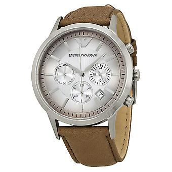 Emporio Armani AR2471 Renato Brown Leather Strap Textured Degrade Date Window Dial Watch