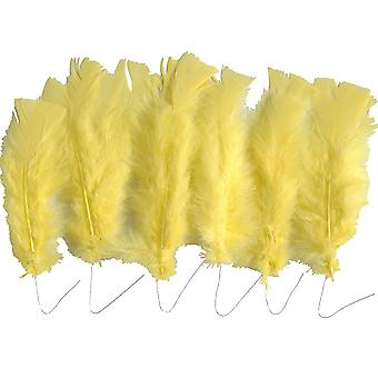 18 Yellow Wired Feathers for Arts & Crafts