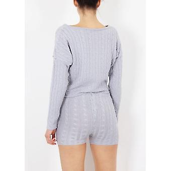 Cable Knit Loungewear conjunto Co Ord gris