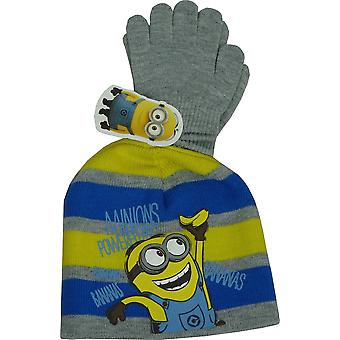Boys Minions Winter 2 Piece set Beanie and Gloves