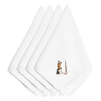 Carolines tesoros EMBT2711NPKE Coonhound bordados servilletas juego de 4