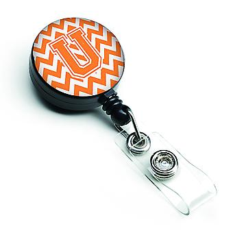 Letter U Chevron Orange and White Retractable Badge Reel