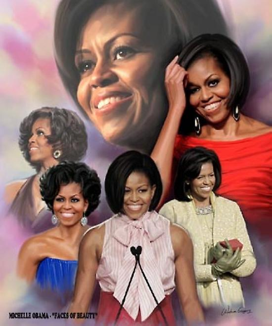 Michelle Obama Faces of Beauty Poster Print by Wishum Gregory (20 x 24)