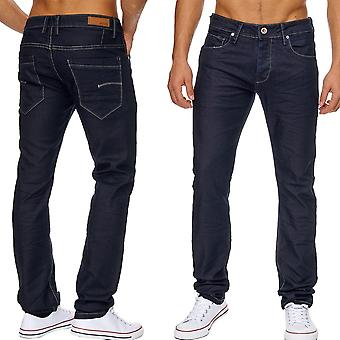 Men's straight leg jeans RAWN dark blue of classic five Pocket stretch denim pants