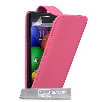 Motorola Moto E Leder-Effekt Flip Case - Hot Pink