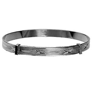 Silver 50mm diameter expanding baby Bangle with diamond cut pattern