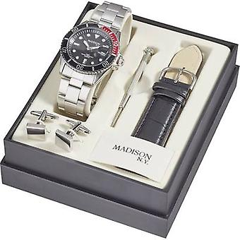 Quartz Wrist watch SUN427A6 (Ø) 40 mm Silver Enclosure material=Metal Material (watch strap)=Metal, Leather Madison New