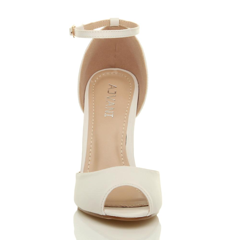 heel evening toe buckle court ankle high party sandals peep strap stiletto shoes Ajvani womens qX5f6nwgx