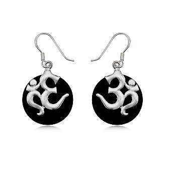 Dinglende øreringer Om i Pearl black og Silver 925