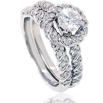 1 1/2ct Diamond Halo Engagement Ring Set 14K White Gold