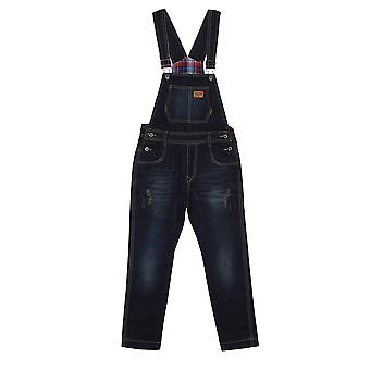 Children's Darkwash Denim Dungarees Blue Slim leg dungarees age 6 8 10 12
