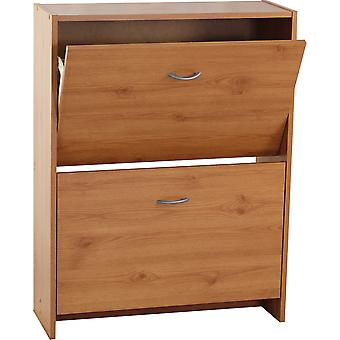 Flip - Compact 2 Drawer 12 Pair Shoe Storage Cabinet - Pine