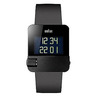 Braun Men's Quartz Watch with Black Dial Digital Display and Black rubber Strap BN0106BKBKG