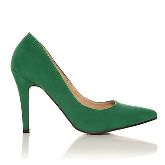 DARCY Green Faux Suede Stilleto High Heel Pointed Court Shoes