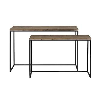 Light & Living Side Table S/2 Max 120x40x79 Cm CAMASCA Metal Black+wood