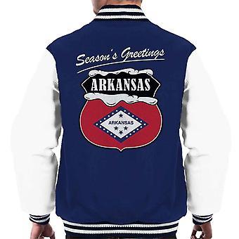 Seasons Greetings Arkansas State Flag Weihnachten Männer Varsity Jacket