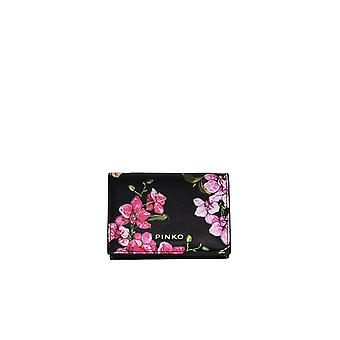 PINKO BLACK FLOWERS STRILLO CARD HOLDER