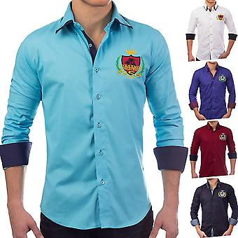Men's shirt long-sleeved polo shirt slim fit patches casual shirt casual (5 colors)