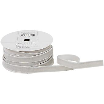 Papermania Ever After Wedding Velvet Ribbon 9mmx10m-Silver