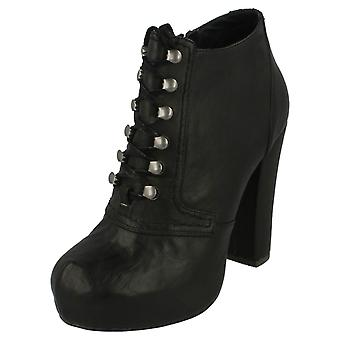 Ladies Spot On High Heel Lace Up Ankle Boot