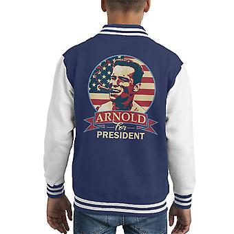 Arnold Schwarzenegger For President Kid's Varsity Jacket