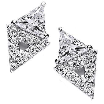 Cavendish French Double Diamond Earrings - Silver