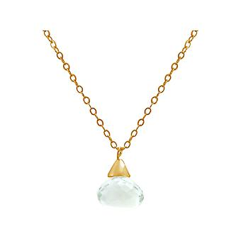 Gemshine - ladies - pendant - necklace - gold - green amethyst - drop 45 cm - light green-