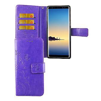 Fleurs de housse de protection pour mobile tactile Samsung Galaxy 8 violet