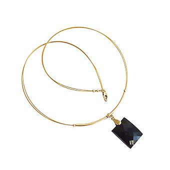 Schwarze Onyx Halskette LENKA Collier Kette mit Anhänger vergoldet