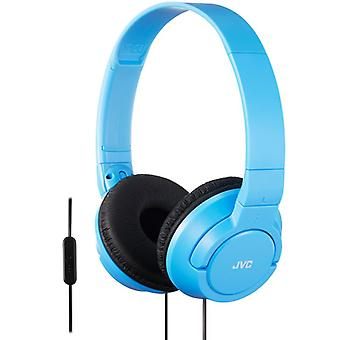 JVC HASR185AN Powerful Bass Headphone with Remote Mic - Blue