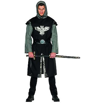 Knight costume Black Silver mens Carnival plate round Castle castle Medieval warriors