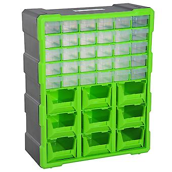 DURHAND Plastic 39 Drawer Parts Organiser Wall Mount Storage Cabinet Garage Small Nuts Bolts Tool Clear