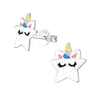 Star - 925 Sterling Silver Colourful Ear Studs