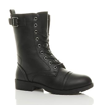 Ajvani womens low heel lace up zip biker army military combat ankle boots