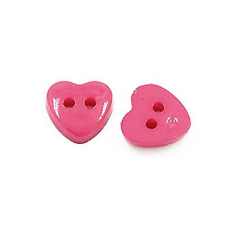 Packet 50+ Pink Acrylic 12mm Heart 2-Holed Sew On Buttons HA07190