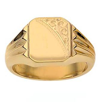 9ct Gold 12x11mm gents engraved rectangular Signet Ring Size R