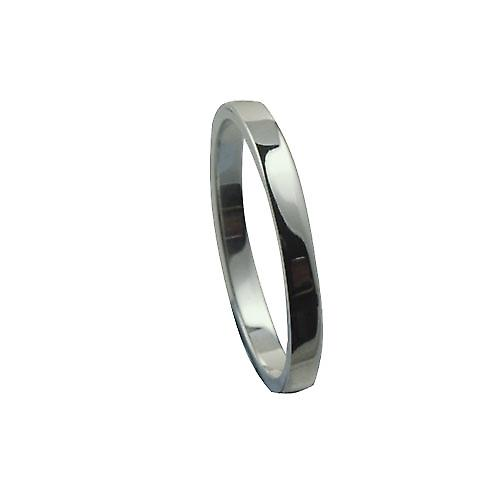 9ct White Gold 2mm plain flat Wedding Ring Size P