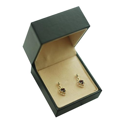 9ct Gold 11x7mm filigree heart Dropper Earrings set with Garnet