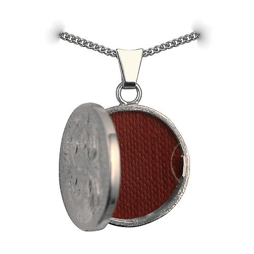 Silver 20mm engraved flat round Locket with a curb Chain 22 inches