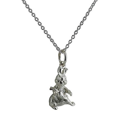 Silver 16x9mm solid Rabbit with Carrot on Rolo chain