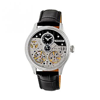 Heritor Automatic Winthrop Leather-Band Skeleton Watch - Silver/Black