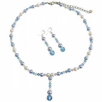 Vita pärlor akvamarin pärlor kristaller AB Crystal Swarovski smycken 5dc78ff307ca7