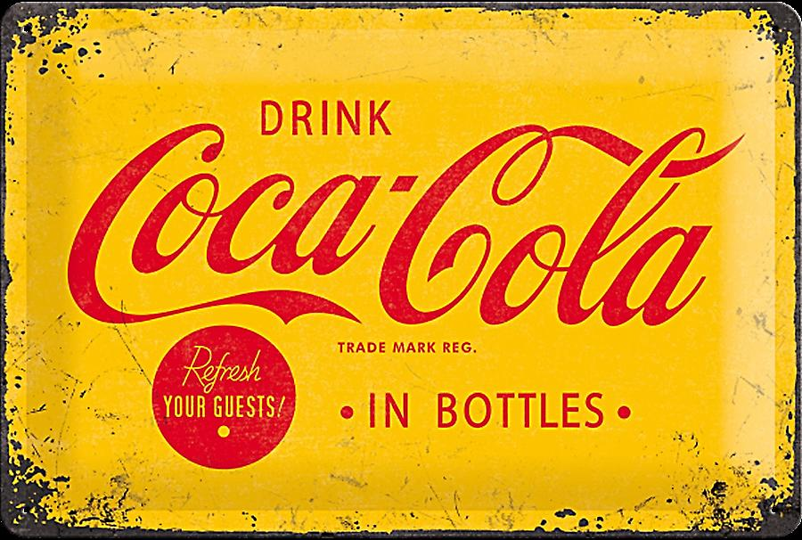 Coca Cola In Bottles (yellow b'ground) embossed steel sign   (na 3020)