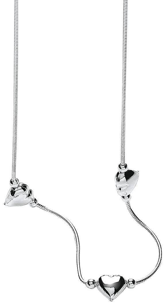Bella Triple In Line Heart Snake Necklace - argent