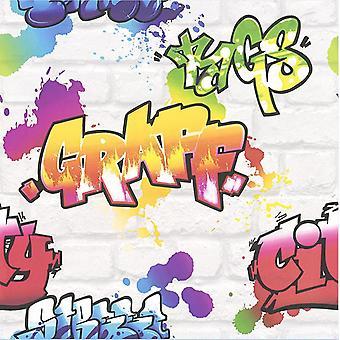 Graffiti Wallpaper maling Splash murstein effekt teksturert typografi hvit Multi